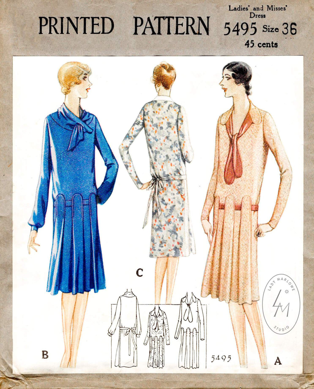 McCall 5495 1920s 1928 flapper dress vintage sewing pattern reproduction