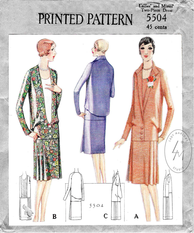 McCall 5504 1920s 1928 flapper era drop waist dress single breasted jacket vintage sewing pattern reproduction