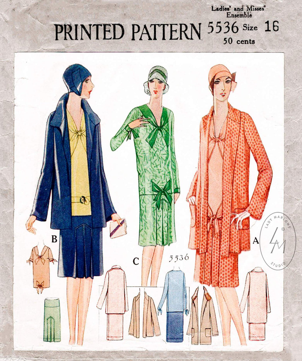 1920s 1928 McCall 5536 box jacket & dress ensemble vintage sewing pattern reproduction