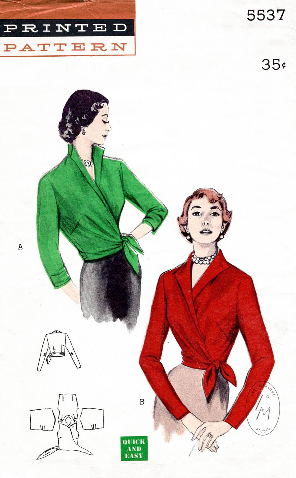 1950s Butterick 5537 wrap blouse vintage sewing pattern repro