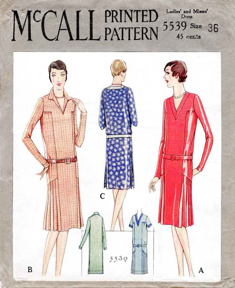 McCall 5539 1920s 1929 slip on dress knife pleat skirt vintage sewing pattern reproduction