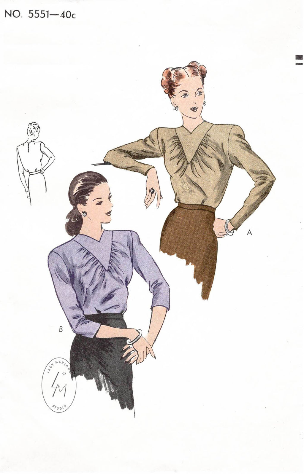 1940s Vogue 5551 film noir blouse in 2 styles vintage sewing pattern repro
