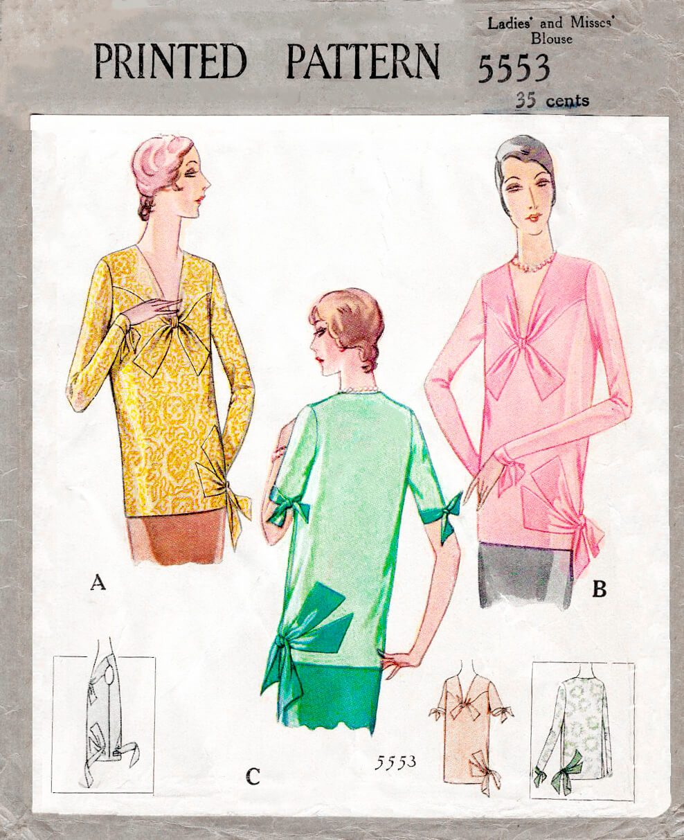 1920s 1928 flapper blouse yoke with tie ends bow accent vintage sewing pattern reproduction