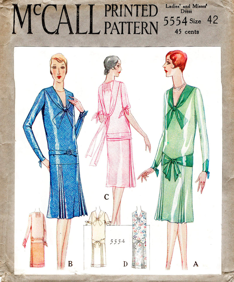 McCall 5554 1920s 1928 afternoon cocktail dress wide bow collar scarf attachment pin tucks vintage sewing pattern reproduction
