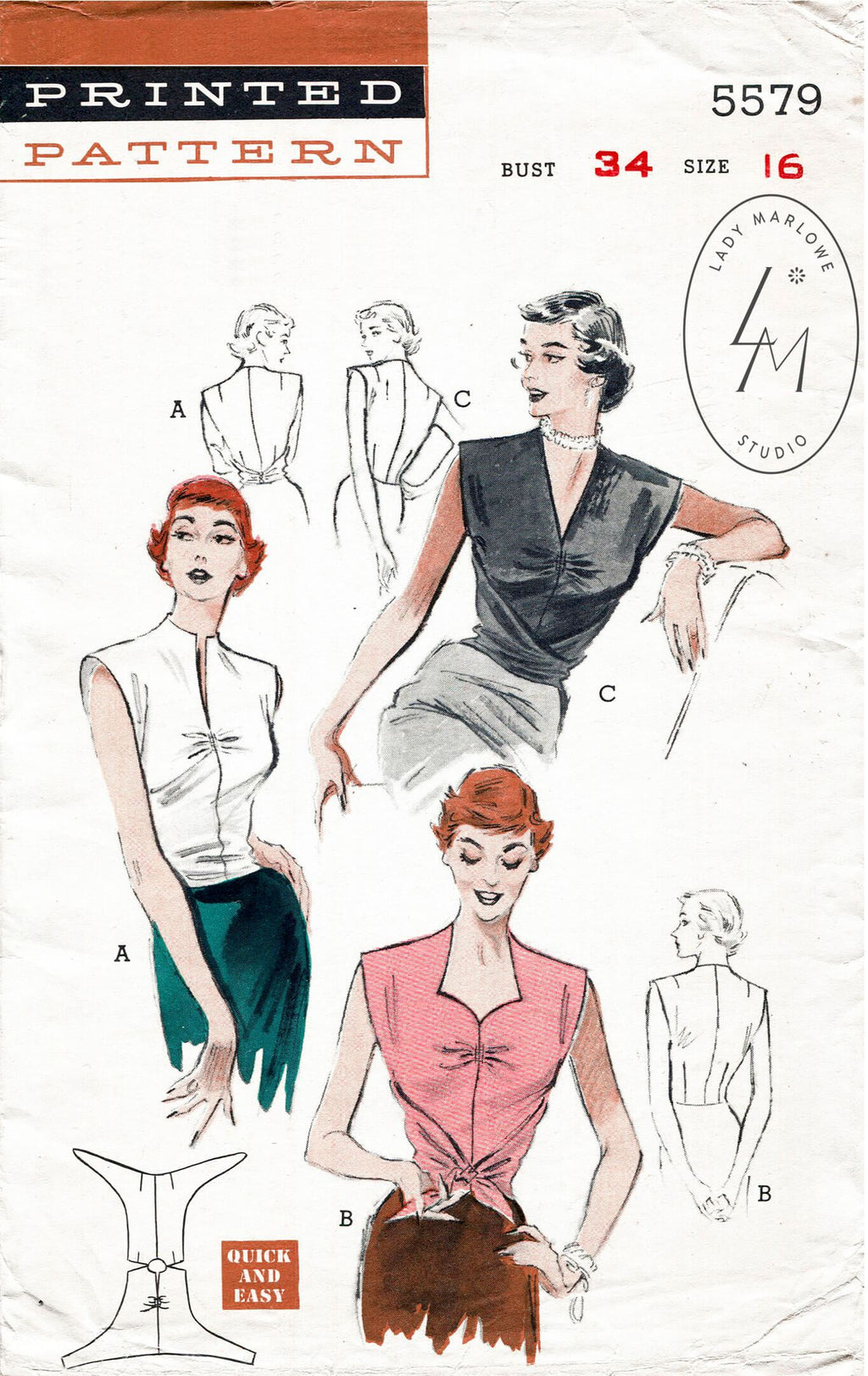 Butterick 5579 1950s blouse sewing pattern 1950 wrap top