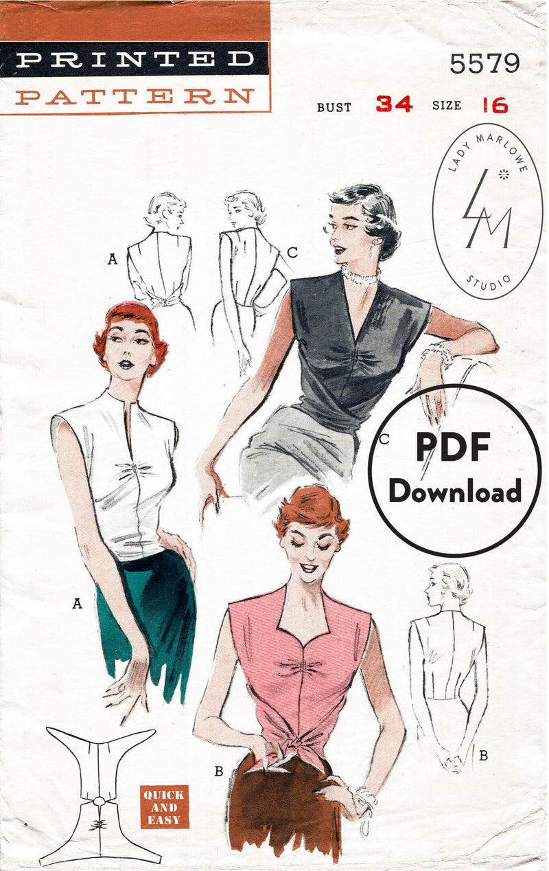 Butterick 5579 1950s blouse sewing pattern 1950 wrap top PDF download