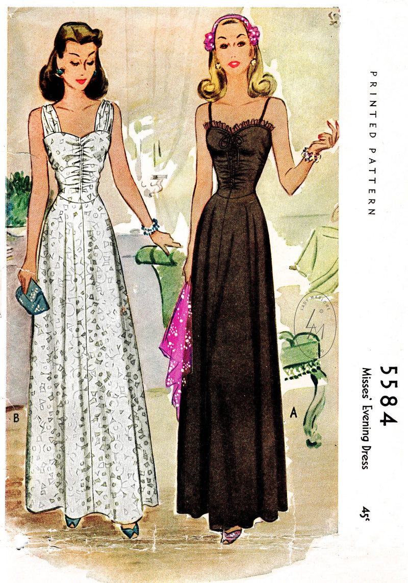 1940s evening gown dance dress vintage sewing pattern McCall 5584