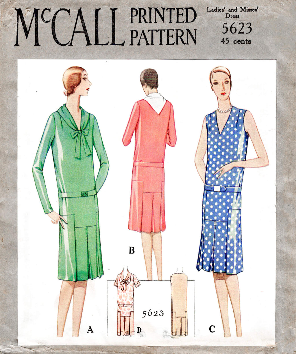 McCall 5623 1920s 1928 flapper era casual day dress drop waist style tie collar vintage sewing pattern reproduction