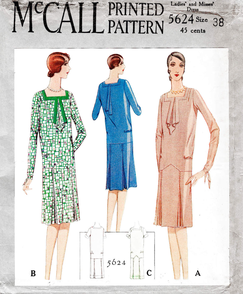 McCall 5624 1920s 1929 slip on dress jabot collar square neckline vintage sewing pattern reproduction