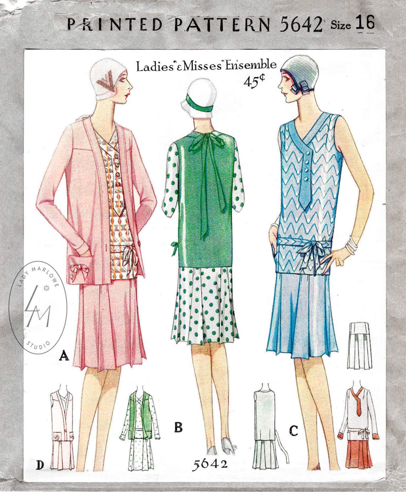 1928 1920s flapper dress and jacket ensemble McCall 5642 vintage sports dress sewing pattern reproduction