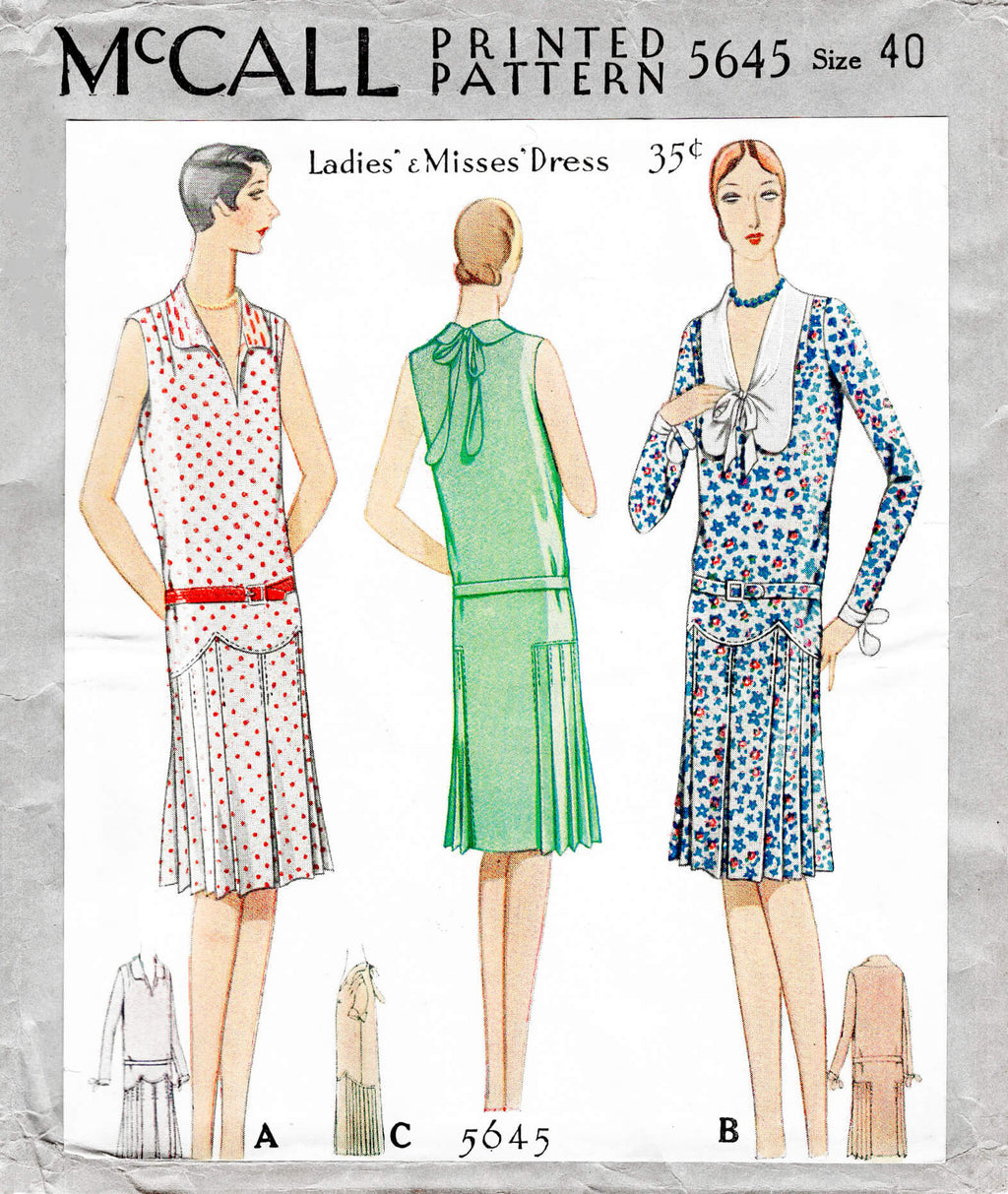 McCall 5645 1920s 1928 casual picnic day dress drop waist style vintage sewing pattern reproduction