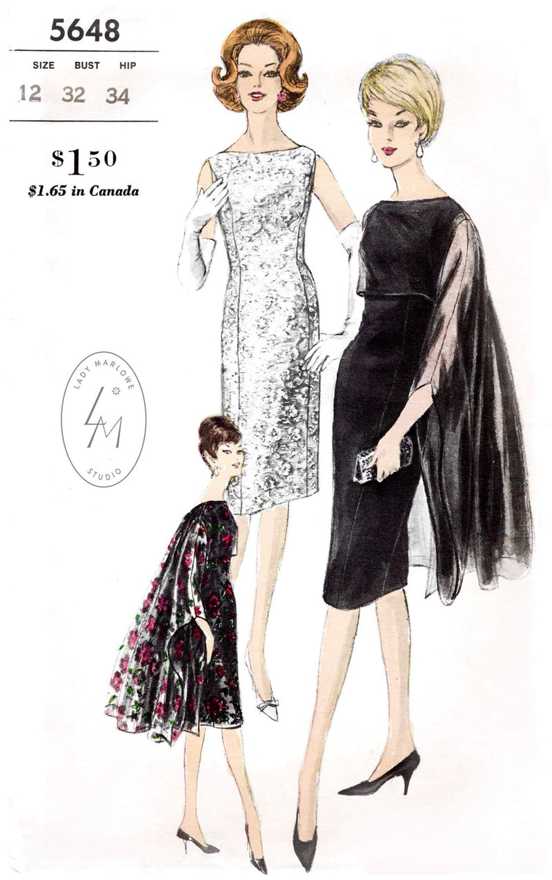Vogue 5648 1960s cocktail dress sewing pattern 1950s