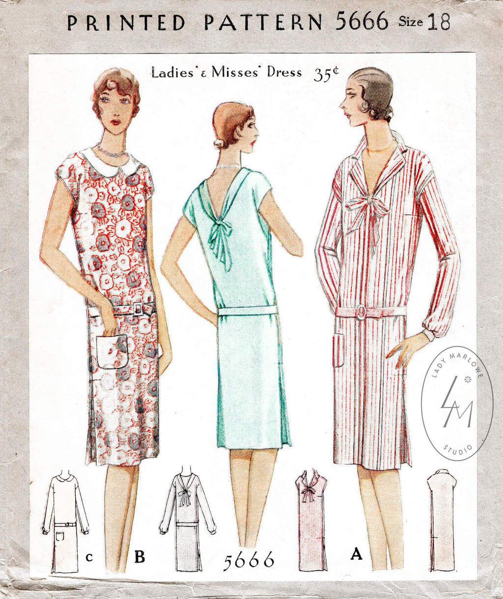 1920s 1929 drop waist dress McCall 5666 peter pan collar tie collar vintage sewing pattern reproduction