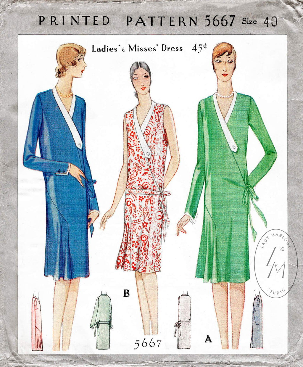 1920s 1928 McCall 5667 wrap dress decorative neck band flounce skirt vintage sewing pattern reproduction