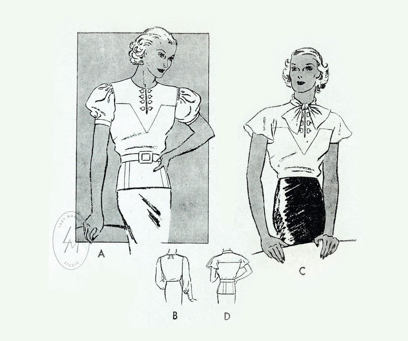 1930s set of blouses in 4 styles vintage sewing pattern reproduction Butterick 5669