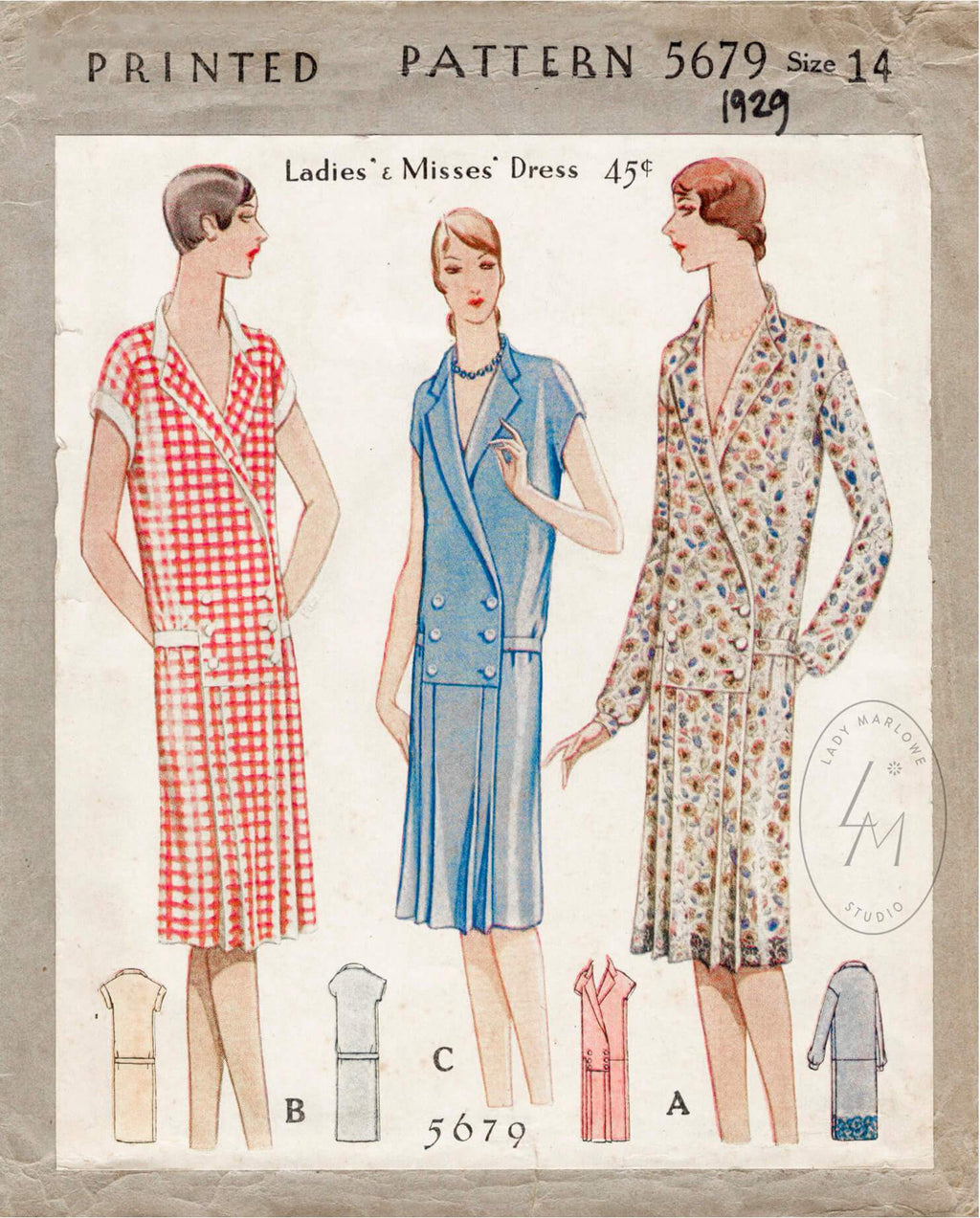 McCall 5679 1929 dress sewing pattern