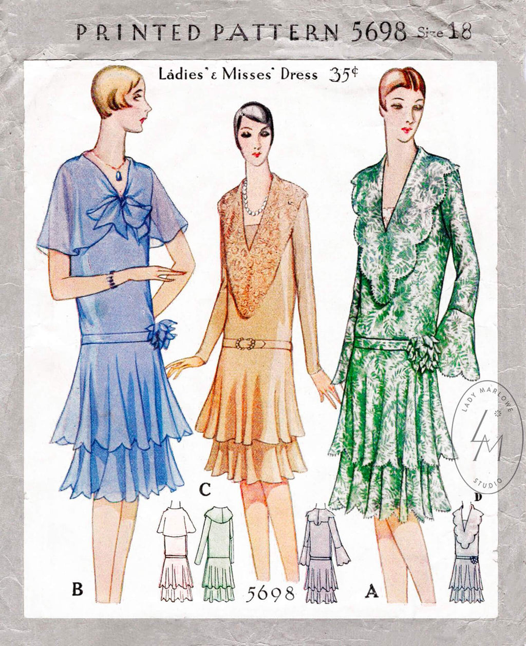 1920s 1929 McCall 5698 flapper party dress tiered flounce skirt scalloped edges vintage sewing pattern reproduction