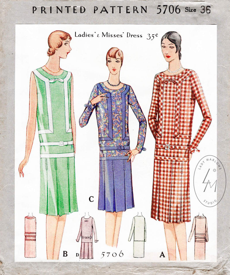 1920s 1929 McCall 5706 drop waist dress art deco seam detail vintage sewing pattern reproduction