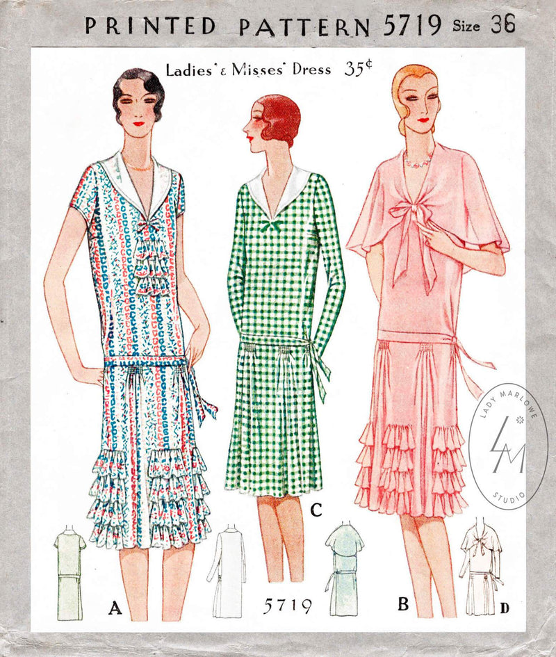 1920s 1928 McCall 5719 drop waist flapper party dress tiered ruffle skirt vintage sewing pattern reproduction