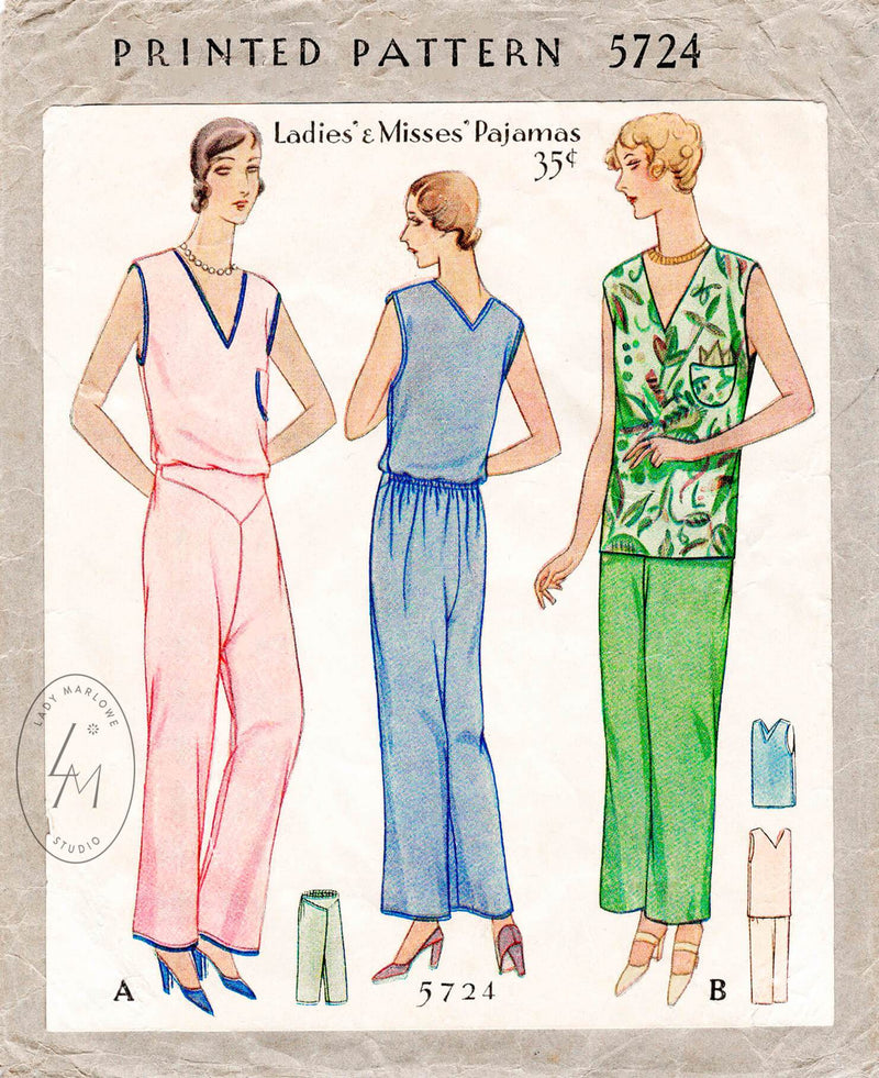 1930s pajama loungewear pattern vintage pyjama sewing pattern reproduction
