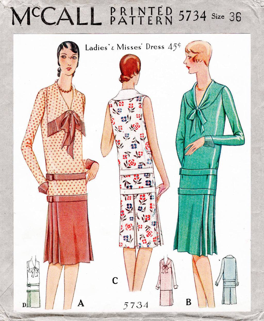 McCall 5734 1920s 1930s drop waist dress wide collar bow fastening vintage sewing pattern reproduction