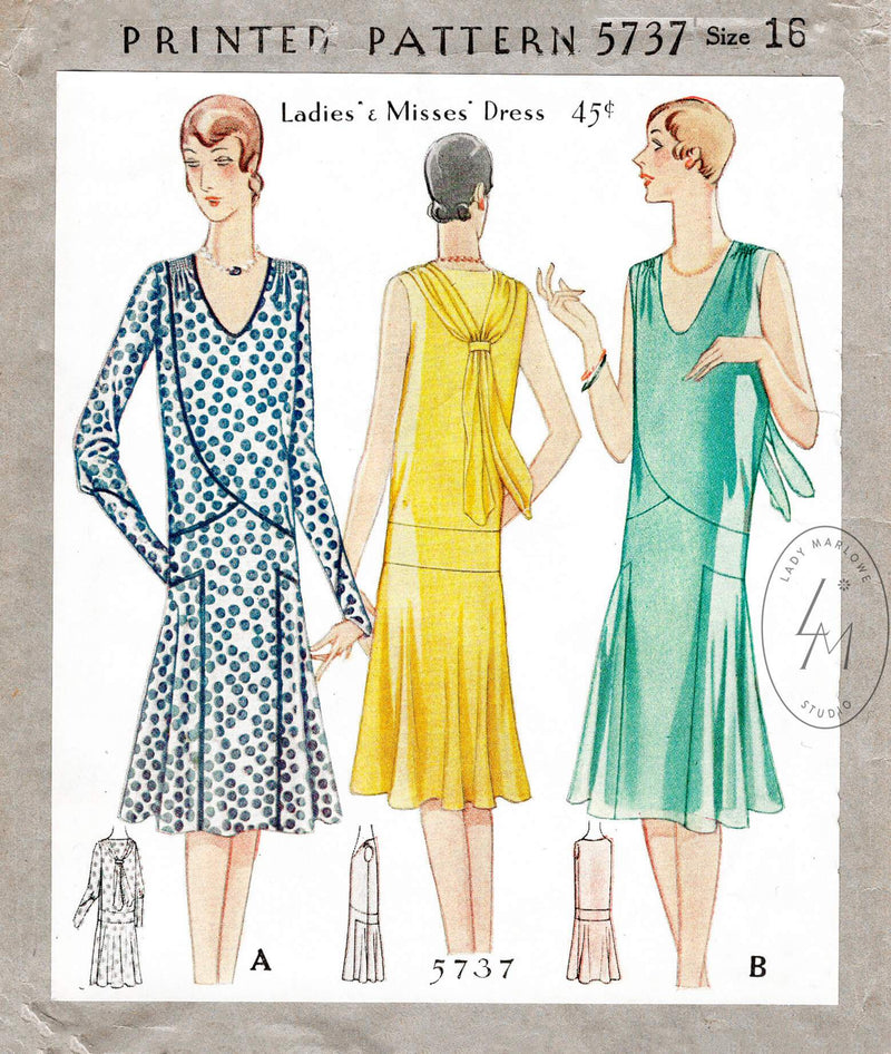 1920s 1929 McCall 5737 art deco afternoon cocktail dress vintage sewing pattern reproduction