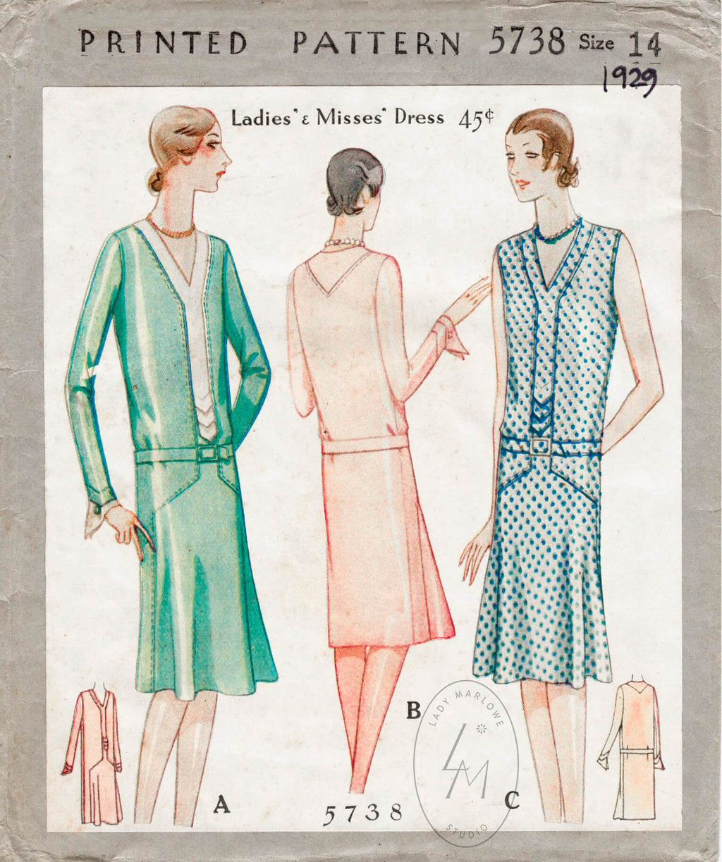 McCall 5738 1920s dress sewing pattern 1920 20s flapper dress