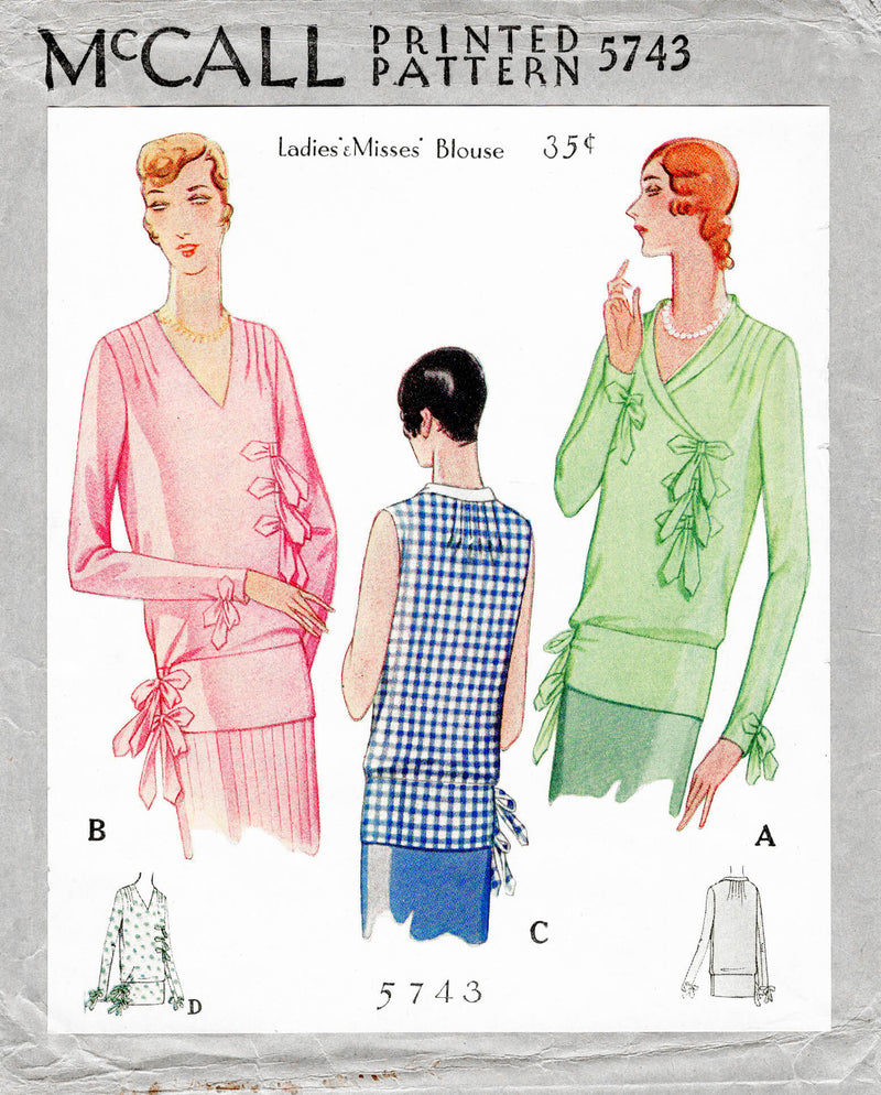 McCall 5743 1920s 1929 flapper era blouse bow trim vintage sewing pattern reproduction