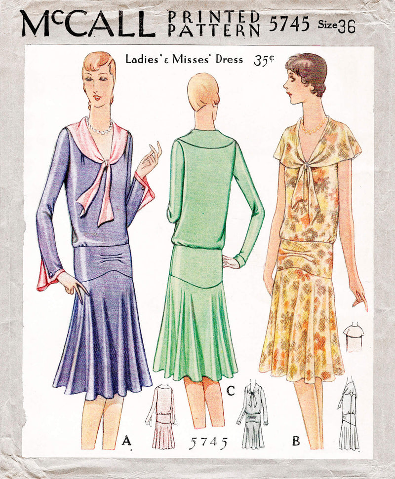 1920s 1929 McCall 5745 vintage flapper era tea dress bertha collar sewing pattern reproduction