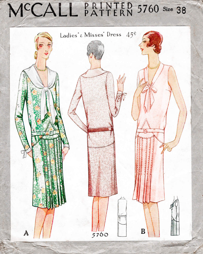McCall 5760 1920s 1929 flapper era dress shawl collar drop waist pleat skirt vintage sewing pattern reproduction