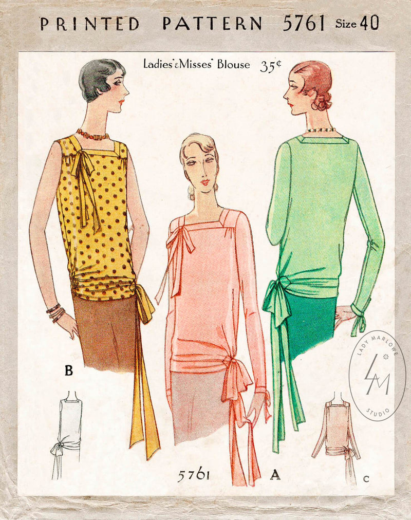 McCall 5761 1920s blouse sewing pattern