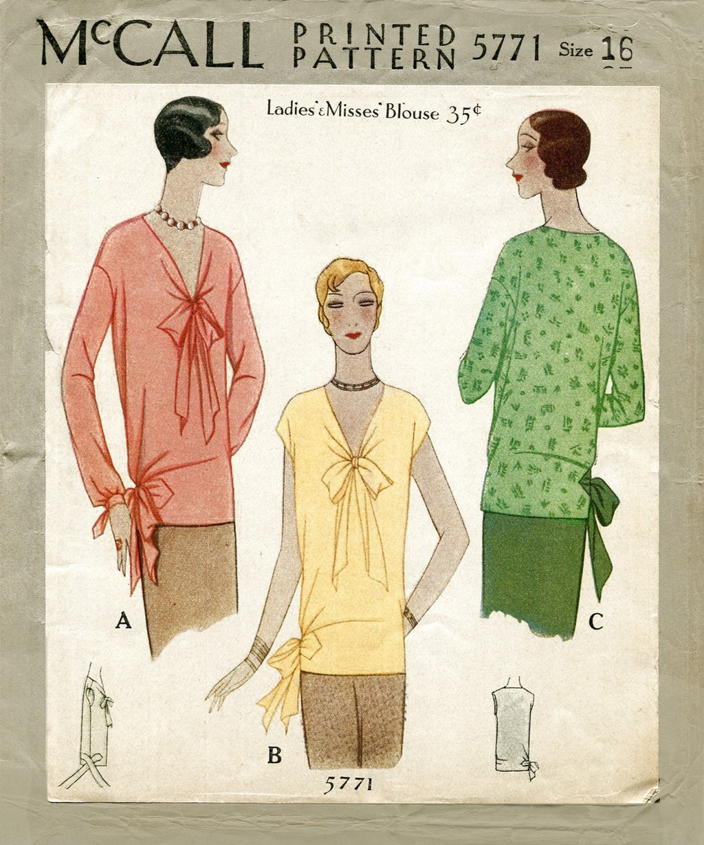 McCall 5771 1920s blouse sewing pattern
