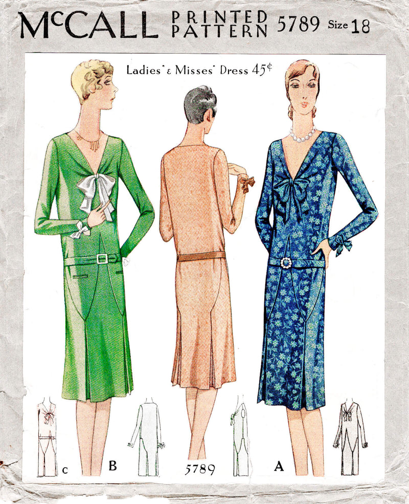 McCall 5789 1920s 1928 flapper era dress art deco seam details drop waist silhouette vintage sewing pattern reproduction