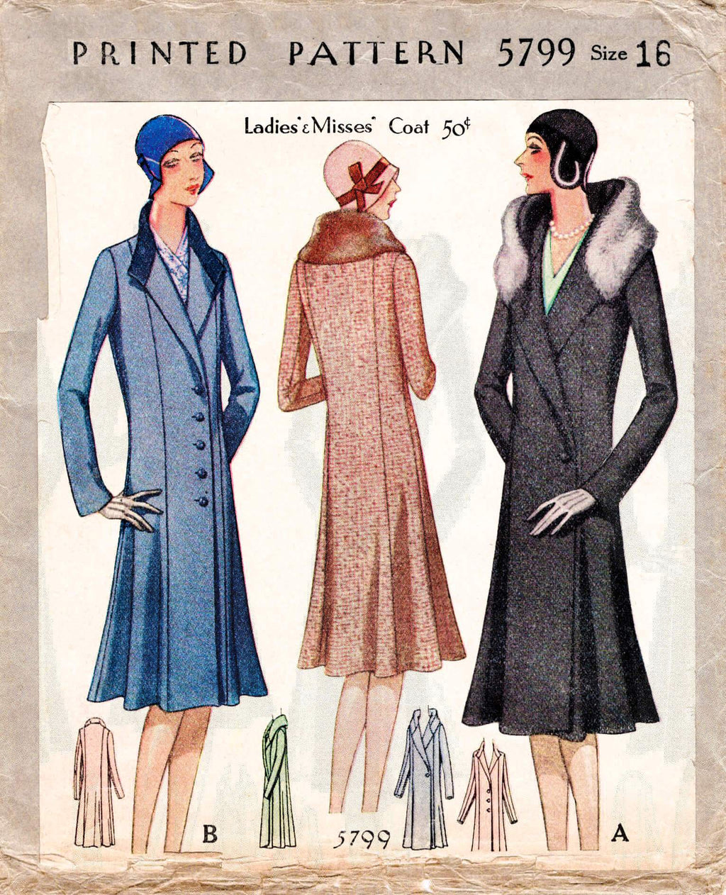 McCall 5799 1920s winter coat sewing pattern