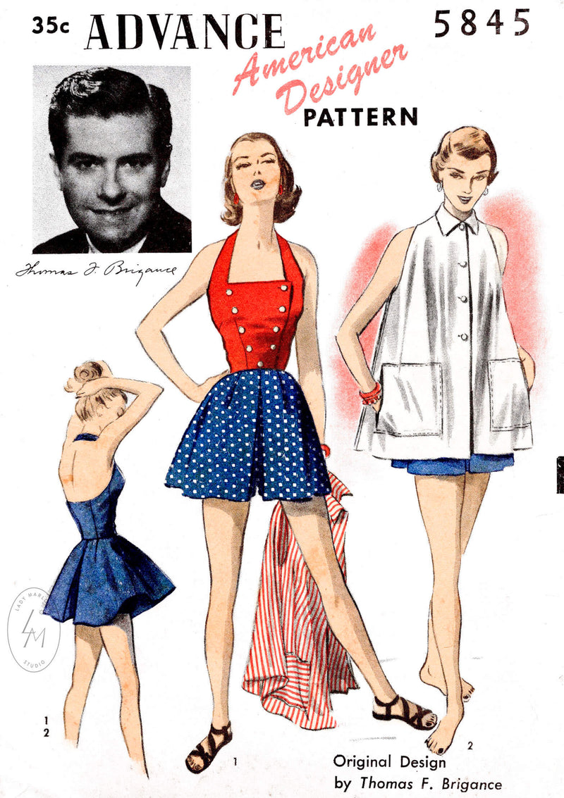 Advance 5945 vintage sewing pattern repro Halter playsuit high waist shorts & trapeze swing coat