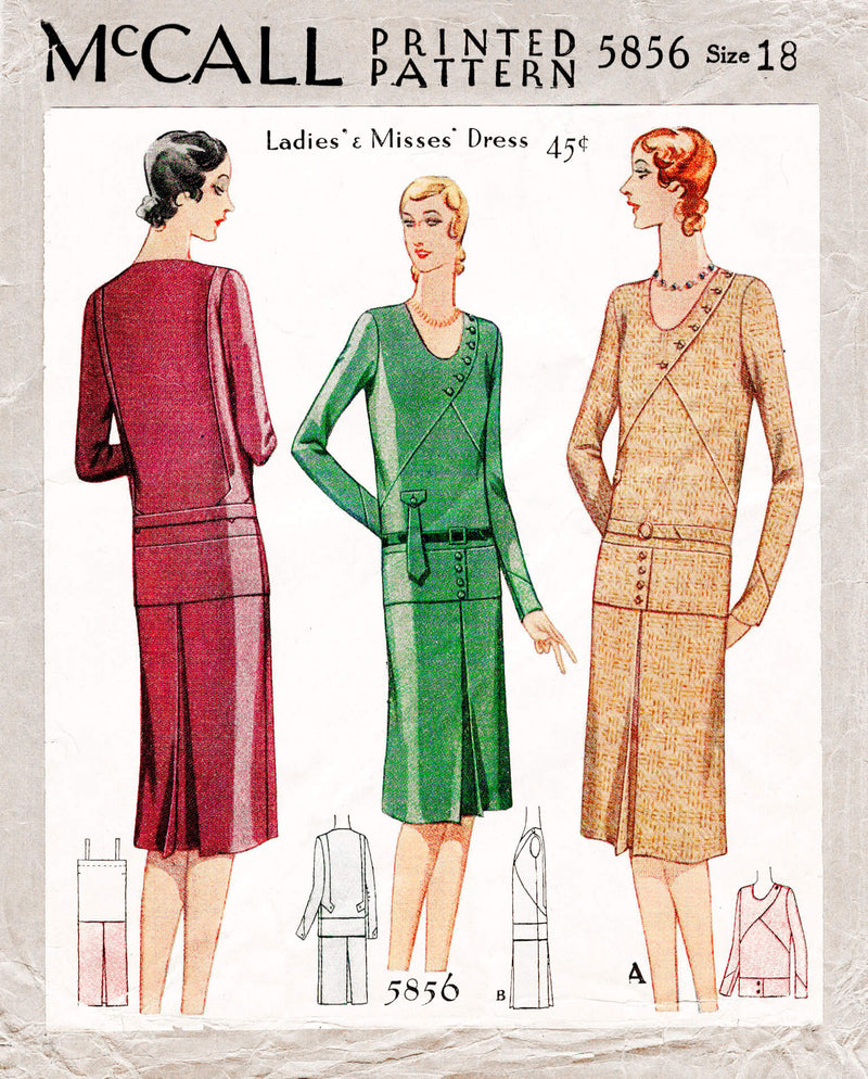 1920s 1929 McCall 5856 drop waist dress art deco seam detail vintage sewing pattern reproduction