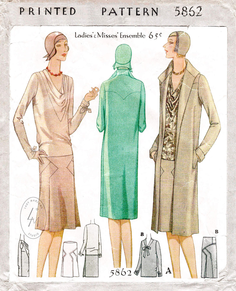 McCall 5862 1920s 1929 vintage sewing pattern cowl neck blouse skirt and box coat