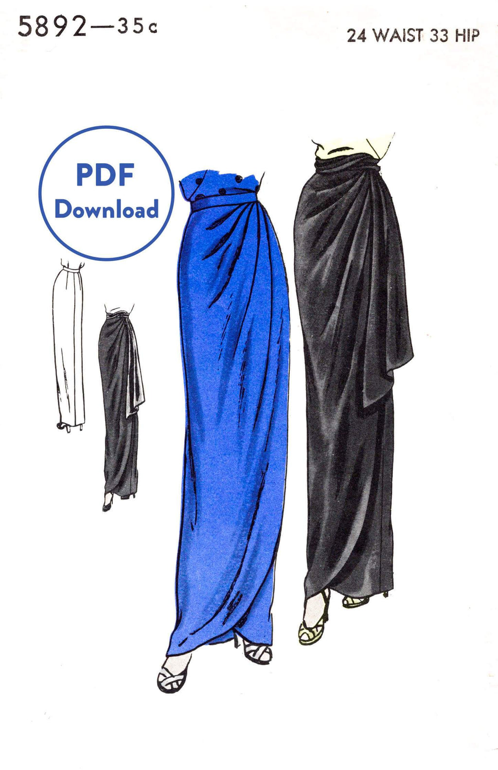 Vogue 5892 1940s film noir skirt vintage sewing pattern 1940 skirt PDF download