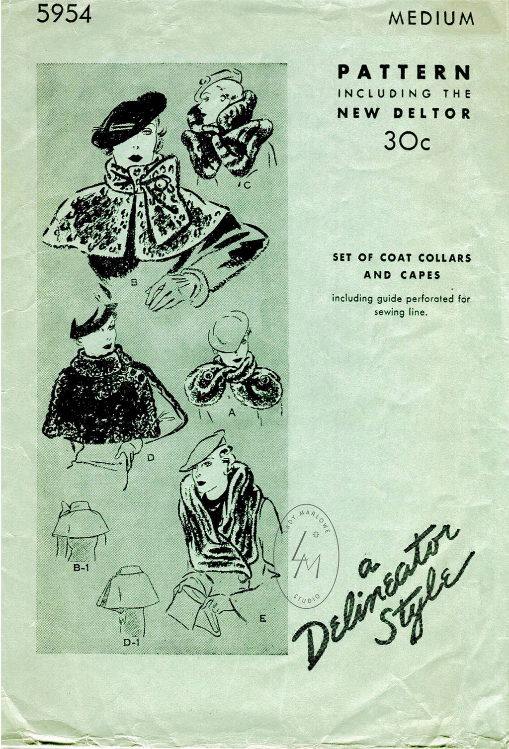 Butterick 5954 1930s vintage sewing pattern 1930 30s fur capes collars accessories