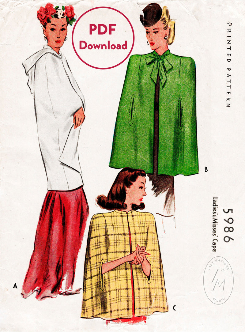 McCall 5986 1940s cape vintage sewing pattern PDF download