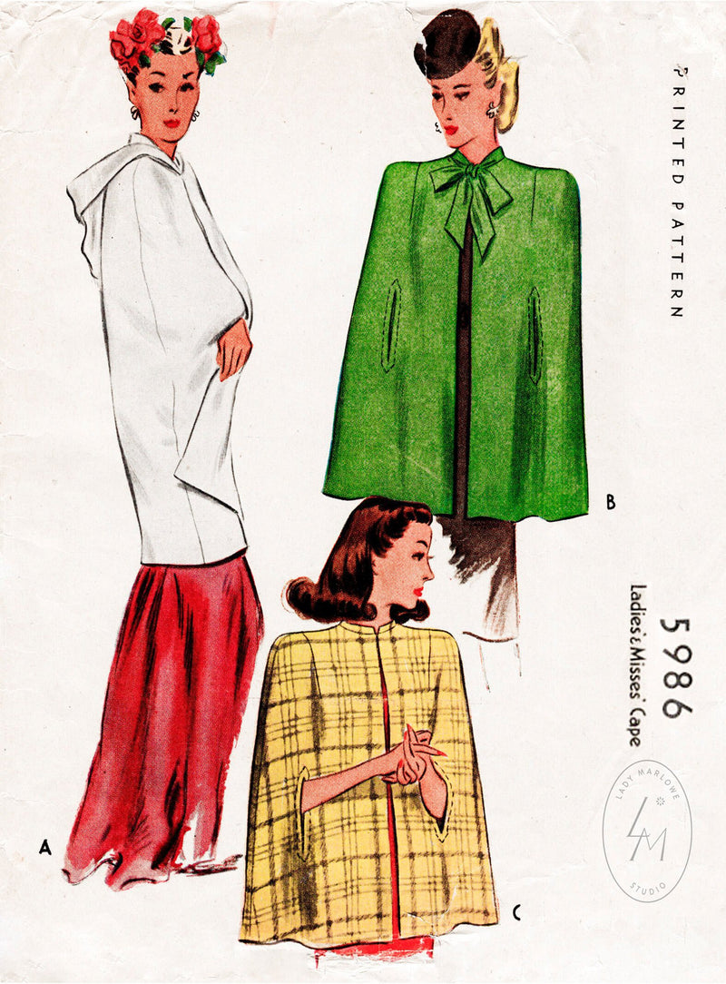 McCall 5986 1940s cape vintage sewing pattern 1940 40s
