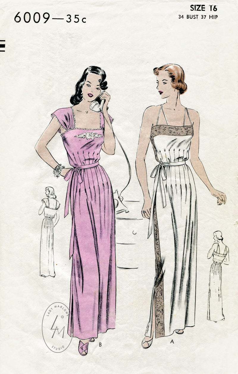 Vogue 6009 1940s vintage lingerie sewing pattern negligee dress