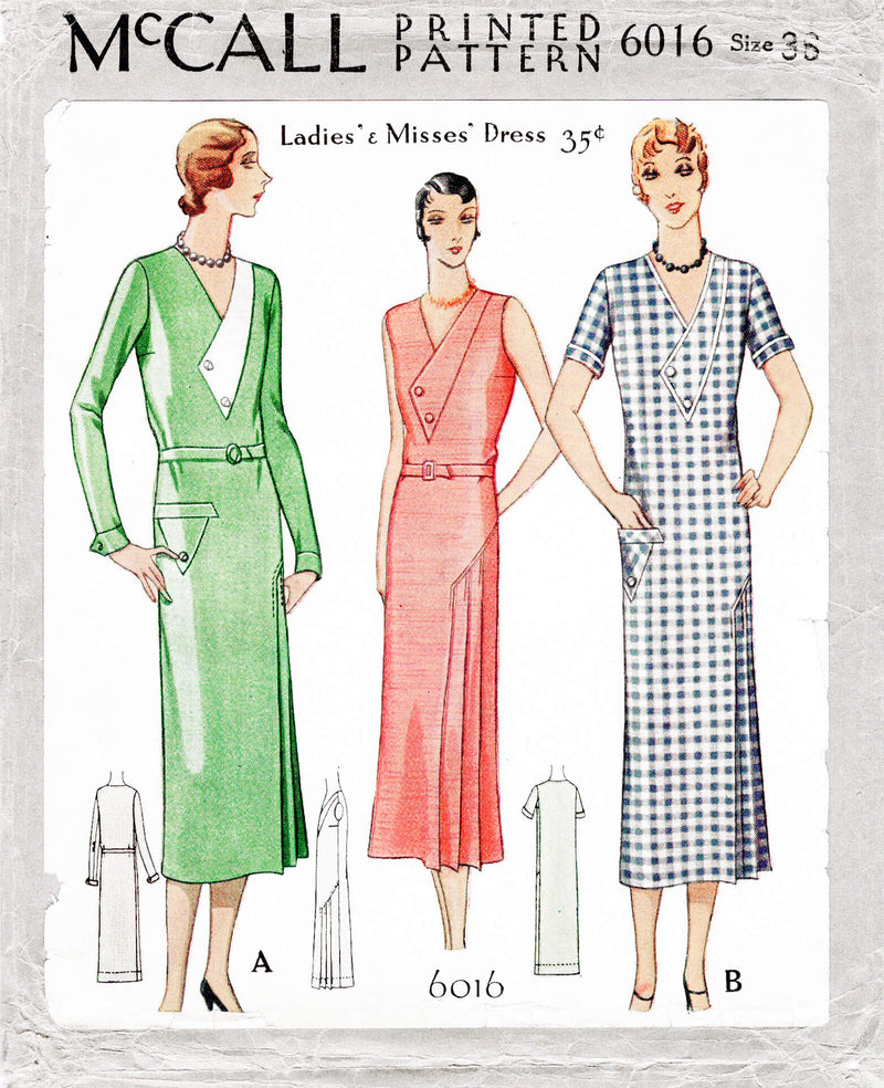1920s 1930s McCall 6016 art deco dress knife pleat skirt front inset vintage sewing pattern reproduction