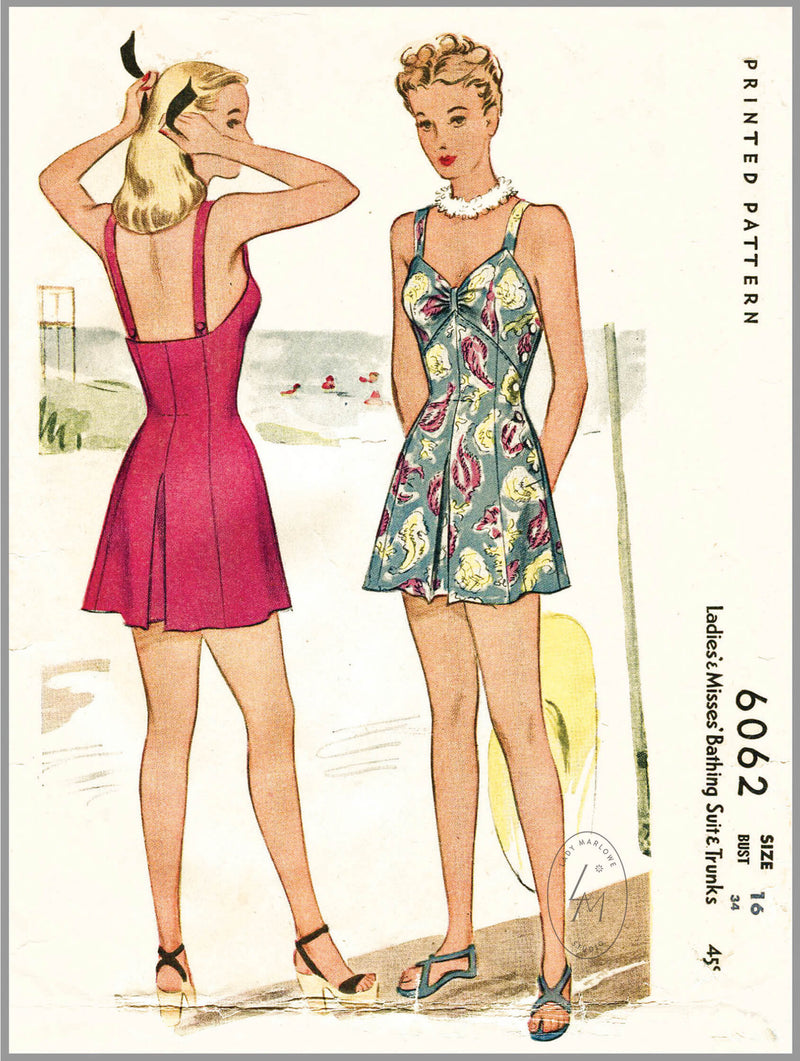 Ladies' & Misses' Bathing Suit McCall 6062 1940s beachwear sewing pattern