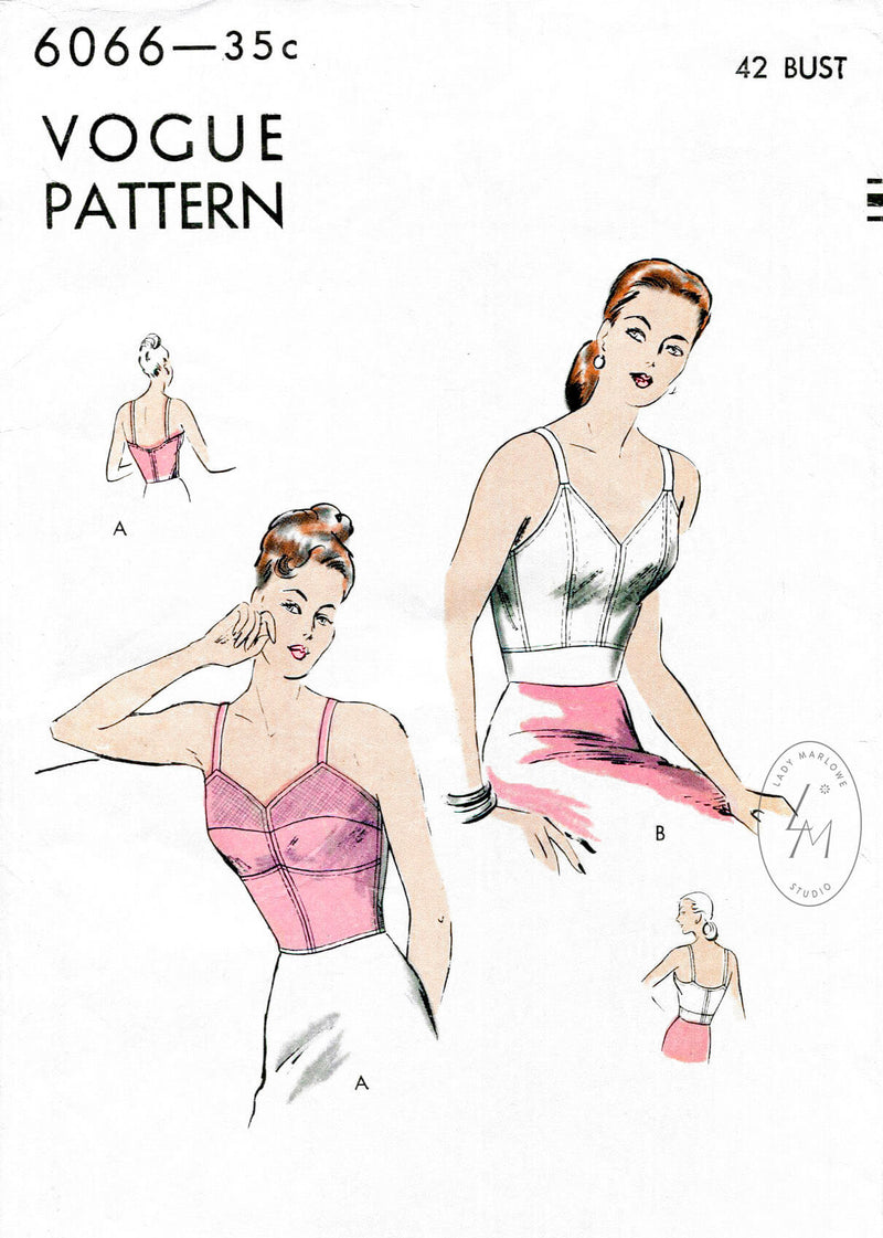 Vogue 6066 1940s long line bra in 2 styles vintage sewing pattern reproduction