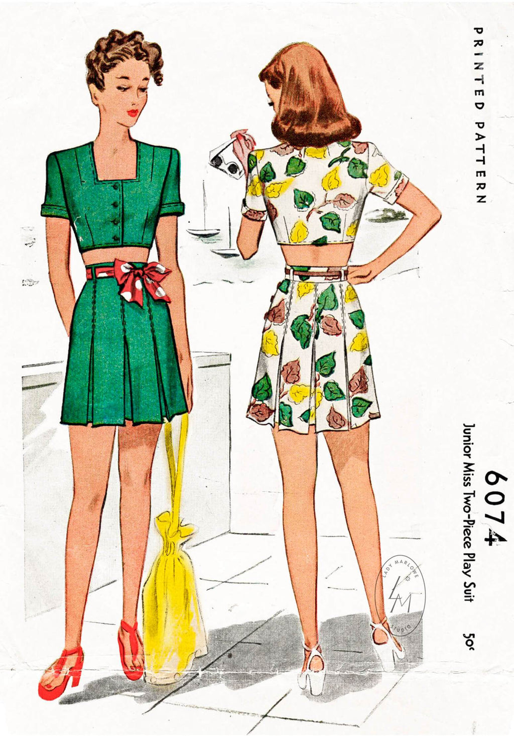 1940s McCall 6074 1945 crop top & high waist shorts vintage sewing pattern repro