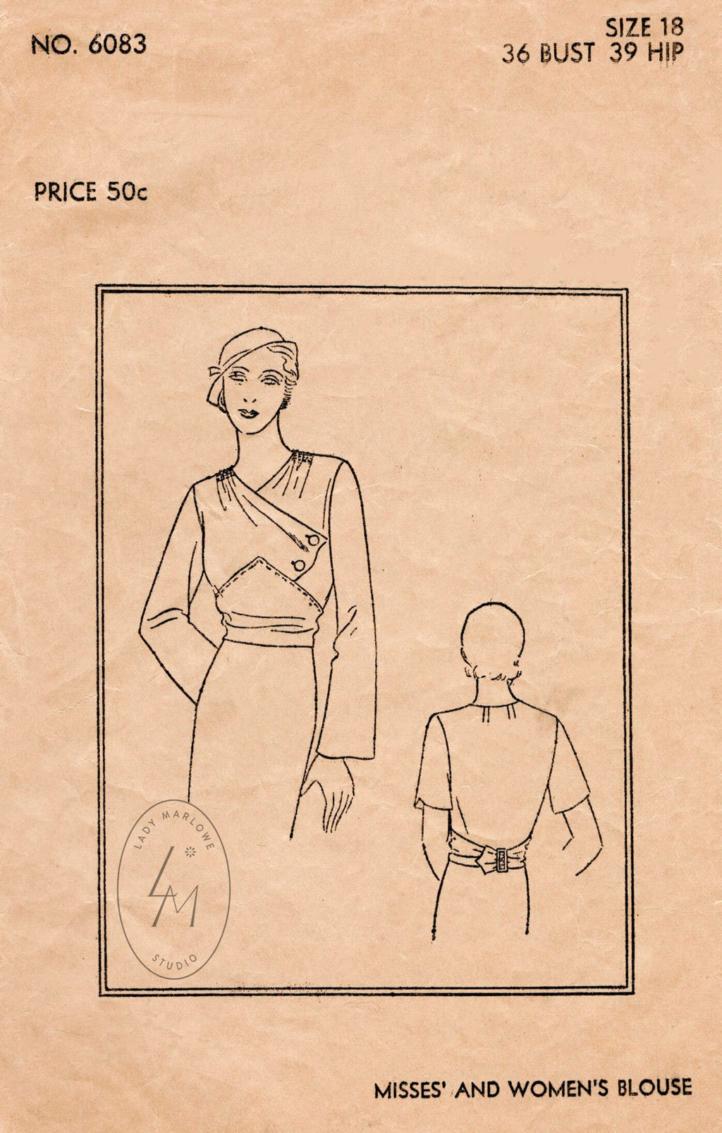 Vogue 6083 1920s 1930s blouse vintage sewing pattern reproduction