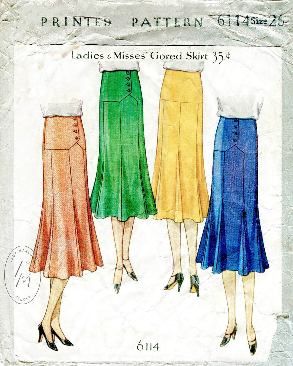 McCall 6114 1920s vintage sewing pattern 1920 20s skirt