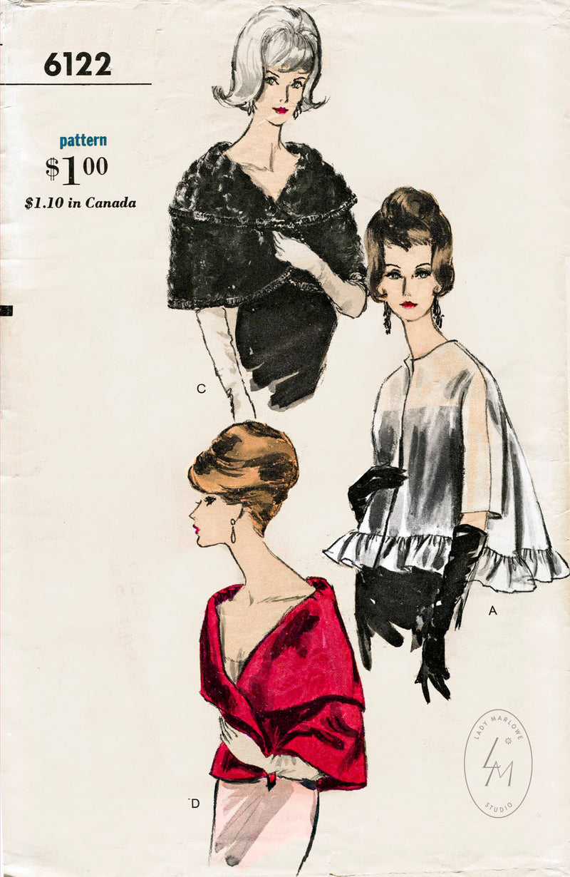 Vogue 6122 1960s evening wrap sewing pattern