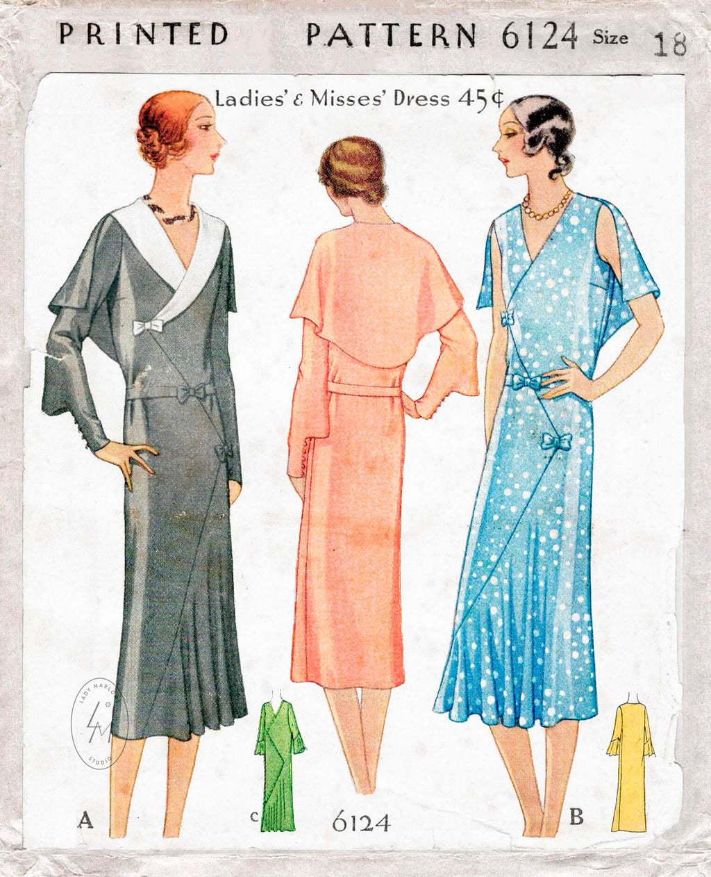 McCall 6124 1930s vintage sewing pattern dress in 3 styles with capelet